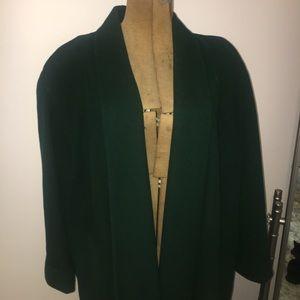 VTG Drape Open-Front Emerald Green Wool Long Coat